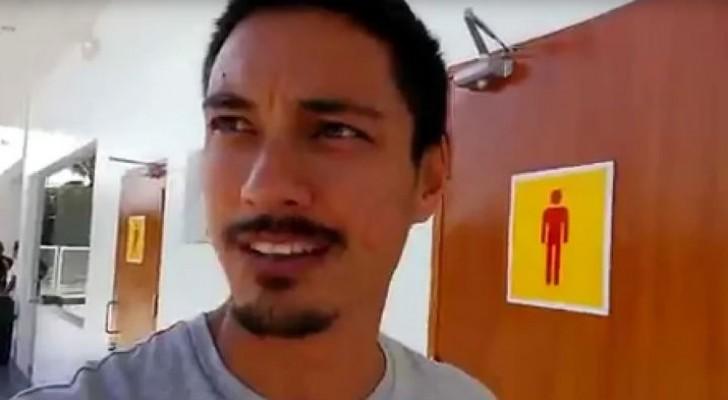Il s'arrête pour aller aux toilettes: ce qu'il trouve à l'intérieur le pousse à prendre la caméra