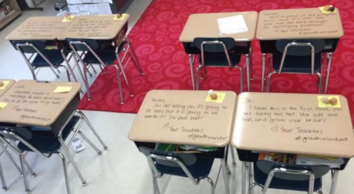 De leerlingen hebben het eindejaarsexamen: wanneer ze het lokaal binnenkomen vinden ze een verrassing van de onderwijzeres