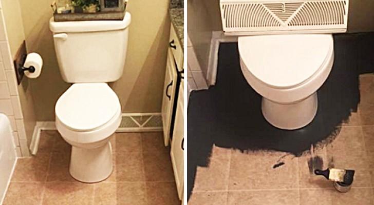 Stunning DIY bathroom floor decor!