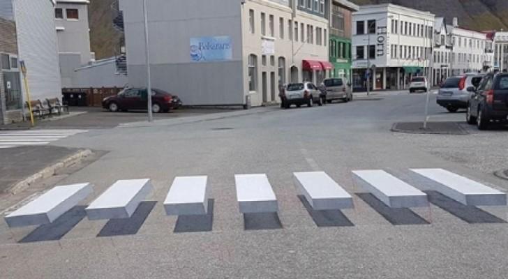 Strisce pedonali a illusione ottica: anche l'Islanda testa la segnaletica stradale