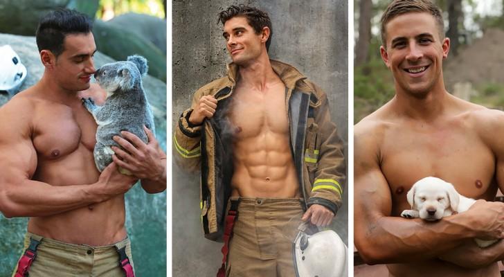 stomend hete australische brandweermannen samen met dieren op de foto voor een kalender. Black Bedroom Furniture Sets. Home Design Ideas