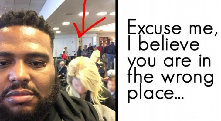 A woman tries to jump ahead in a line and here's this man's reaction