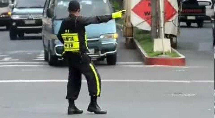 A dancing traffic warden!