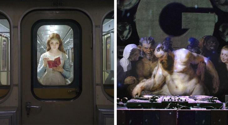 Er nimmt Personen aus alten Bildern und setzt sie in moderne Szenen ein. Das Resultat ist der Hammer!