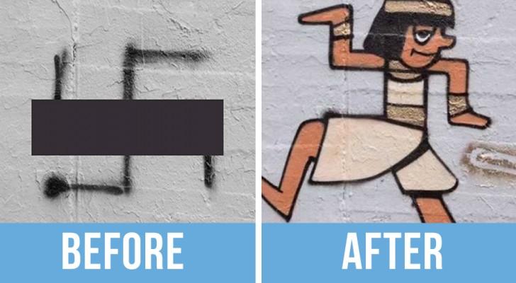 Quelqu'un a trouvé un excellent moyen d'éliminer les croix gammées des murs de Berlin