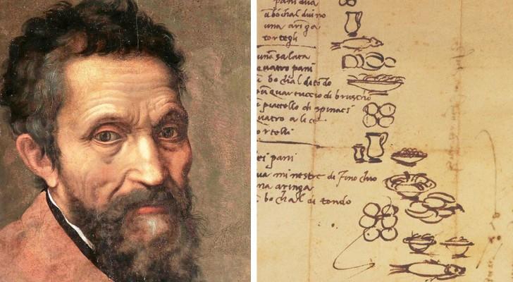 Wat at Michelangelo? Hij verklapt het ons zelf in een boodschappenlijstje dat hij maakte in 1518