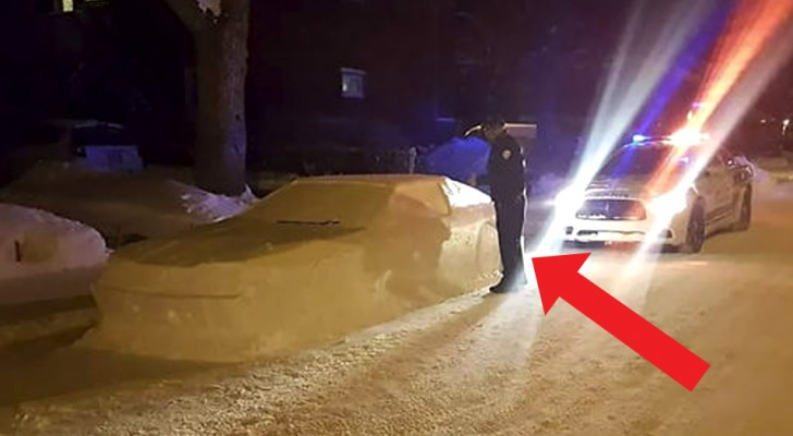 These police officers fined a car made of snow in the funniest of ways