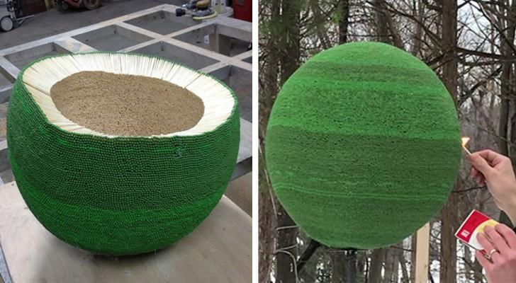 Um cara cria uma esfera gigante colando 42.000 fósforos durante um ano e depois coloca fogo