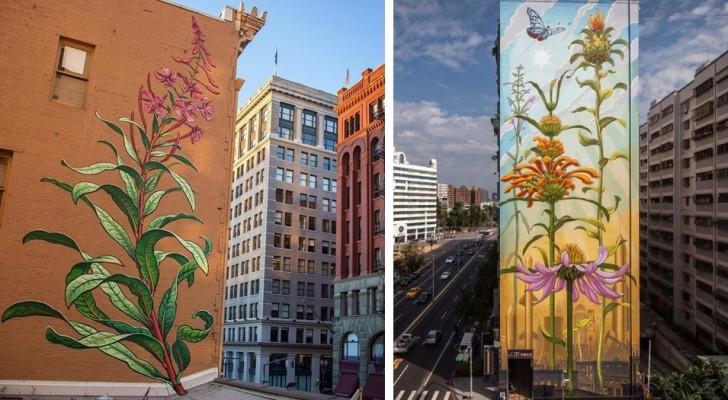 Piante e fiori che lottano contro il cemento: i murales di questa artista illuminano le città