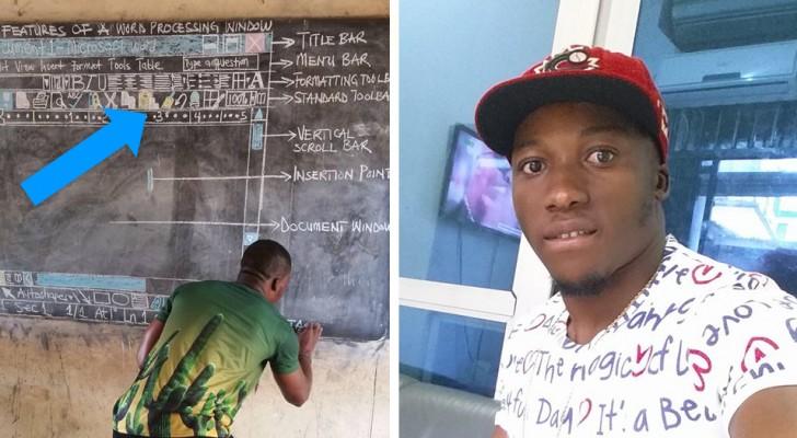 Cet enseignant ghanéen a parfaitement recréé un document Word pour ses étudiants sans ordinateur