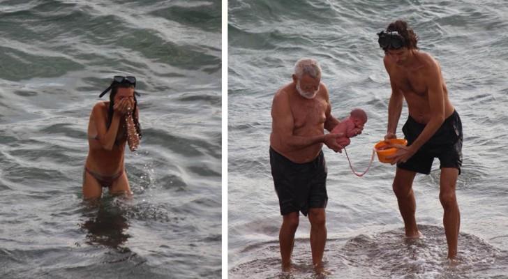 Een Russische toerist bevalt in de wateren van de Rode Zee: een Facebook-gebruiker legt het moment vast