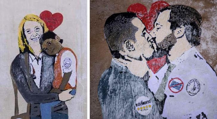 Bacio tra Salvini e Di Maio: nuovi murales provocatori spuntano per le strade di Roma