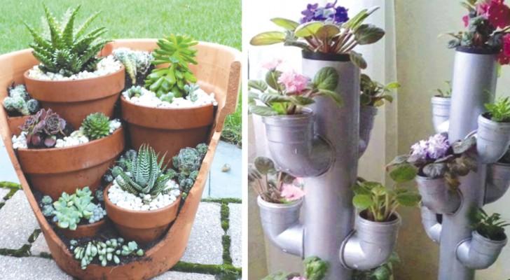 12 manieren om de potten in je tuin te organiseren waar je nog nooit aan gedacht had