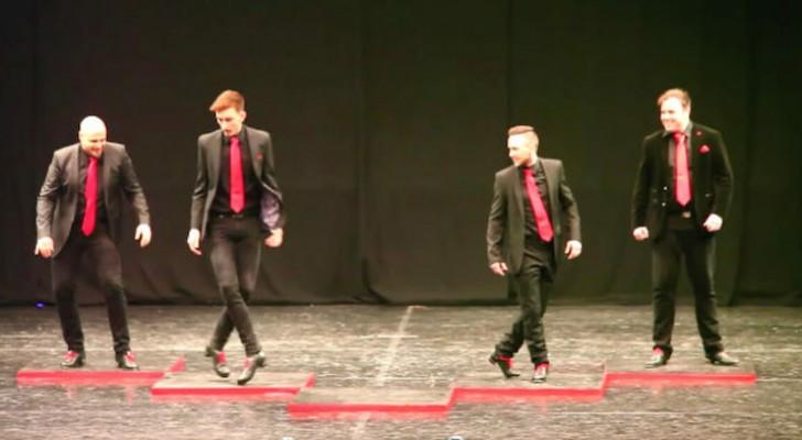 4 ballerini iniziano la danza irlandese: quando il quinto li raggiunge sul palco sono scintille