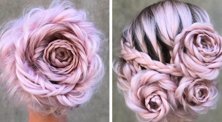 Inizia con una semplice treccia e ottiene un'elegante acconciatura a forma di rosa... Spettacolo!