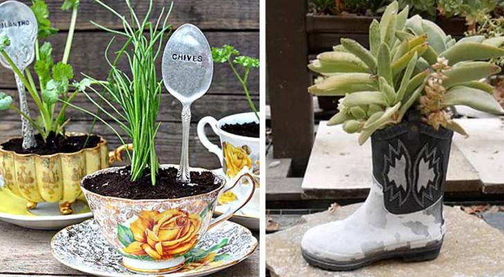 14 recycelte Gegenstände, die euren Garten oder Balkon einzigartig machen
