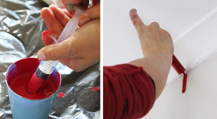 Fill a syringe with paint, then let the paint slide down a wall --- the final effect is very creative!