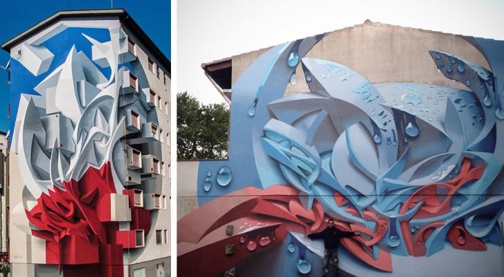 I giganteschi murales in 3D di questo artista italiano hanno stravolto le facciate di tutto il mondo
