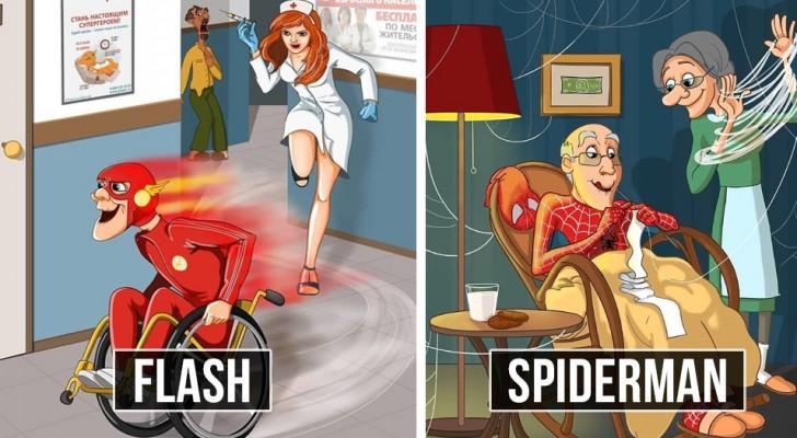 Superhelden... in der Rente: Eine talentierte Zeichnerin zeigt sie uns unter einem neuen Licht