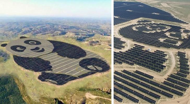 In China is een gigantische zonne-Energiecentrale neergezet in de vorm van een panda... bedacht door een meisje van 15