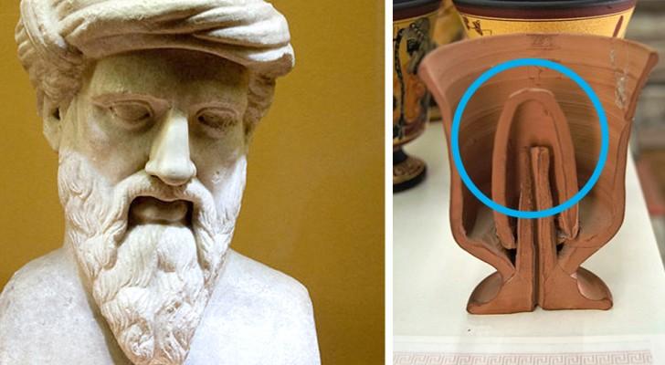 Das pythagoräische Glas: das Glas, das die von Pythagoras erfundenen Trunkenbolde enttarnte. So funktioniert es
