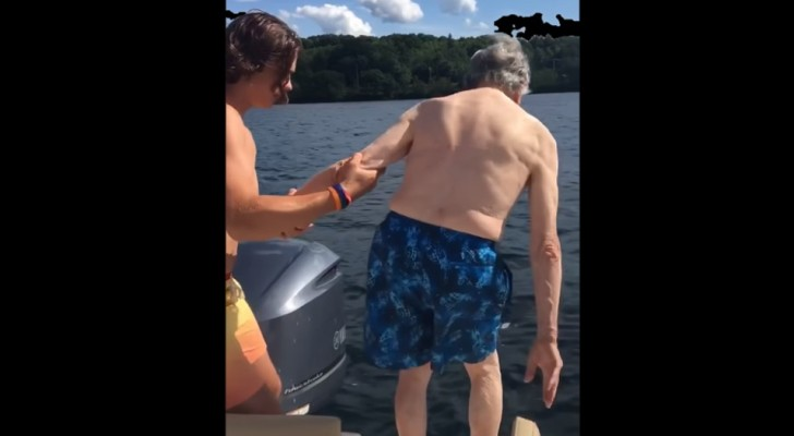 A 102-year-old great-grandfather approaches the water and the way he dives in amazes the whole family!