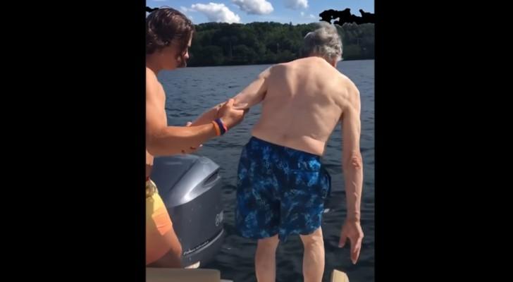Een 102-jarige overgrootvader nadert het water: de manier waarop hij duikt, verbaast de hele familie