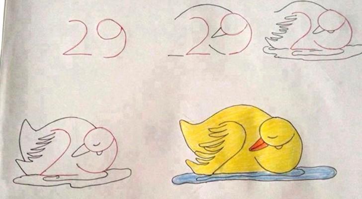 Kinderen leren tekenen met behulp van cijfers en letters: een leuke en zeer nuttige oefening