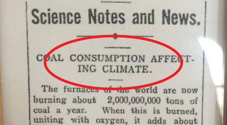 Er is een 106 jaar oud krantenartikel waarin er werd gewaarschuwd over klimaatverandering en de toekomst werd voorspeld