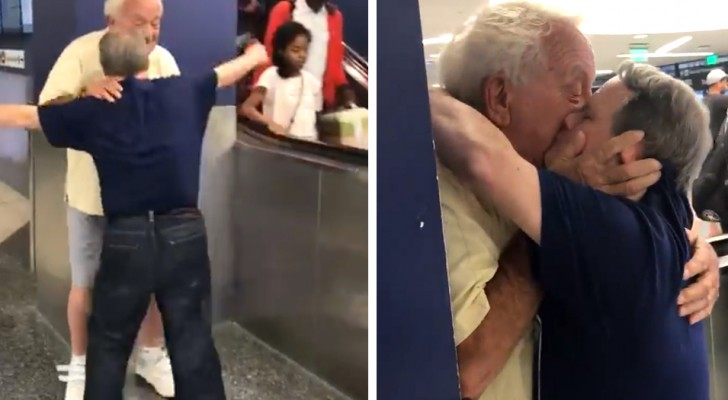 A man who has Down syndrome kisses his father at the airport and the gesture of affection moved everyone