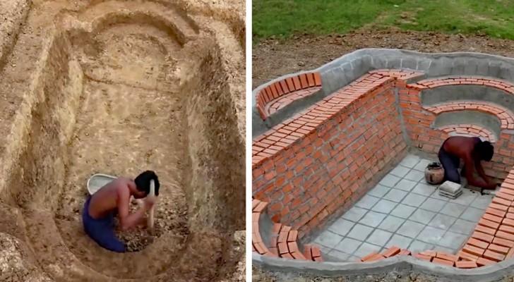 Questo ragazzo costruisce una piscina con le sue mani... e il risultato è strepitoso