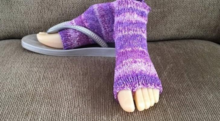 Die Socke, die mit Flip-Flops getragen werden kann, gibt es: die Lösung für diejenigen, die nicht am Ende des Sommers aufgeben.
