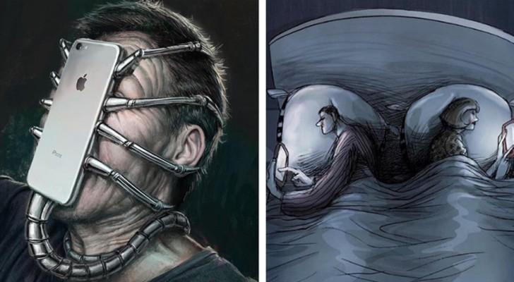 14 illustrazioni della società moderna che ci mostrano quanto le tecnologie rendono folli le nostre vite