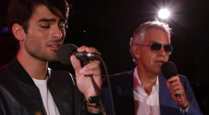 Andrea Bocelli et son fils Matteo font vibrer le monde en chantant ensemble une chanson très célèbre.... Ils sont merveilleux !