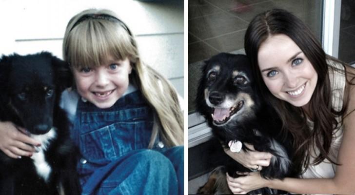 14 schitterende foto's van mensen die SAMEN met hun trouwe viervoeter zijn opgegroeid