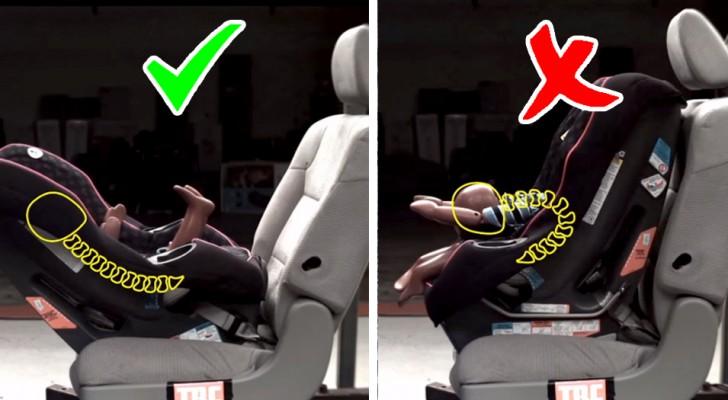 Deshalb empfehlen Experten, dass Sie immer Kindersitze verwenden, die entgegen der Fahrtrichtung des Autos ausgerichtet sind.