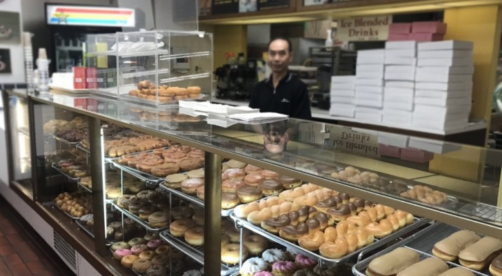 The shop owner's wife is sick so his customers buy all his donuts early every morning so he can go back home