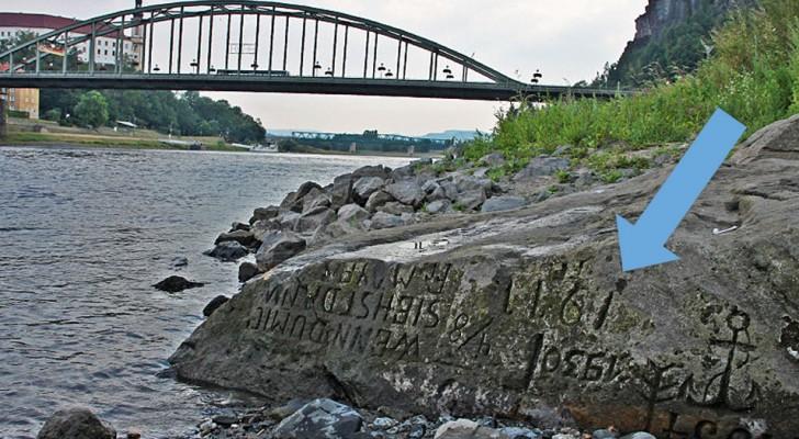 Se mi vedi, piangi: l'inquietante messaggio inciso su una pietra riemersa a causa della siccità