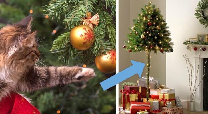 Un'azienda inglese vende mezzi alberi natalizi per le persone con animali dispettosi in casa