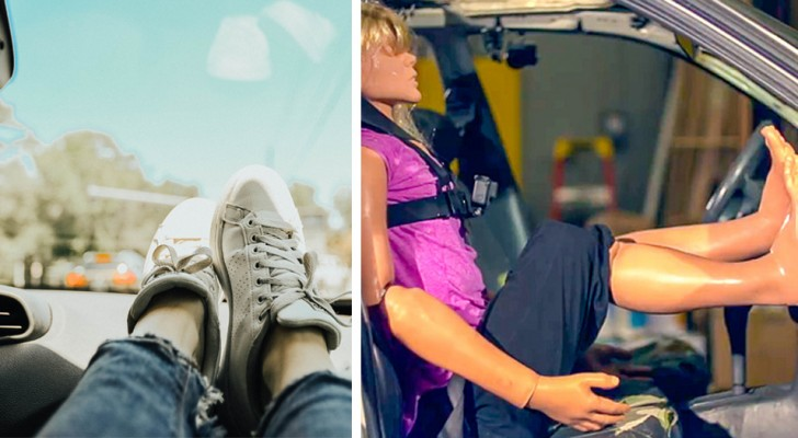 Gli esperti mostrano perché viaggiare con i piedi sul cruscotto può essere estremamente pericoloso