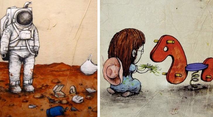 17 Straßenkunstwerke, die all das Unbehagen der modernen Gesellschaft zeigen