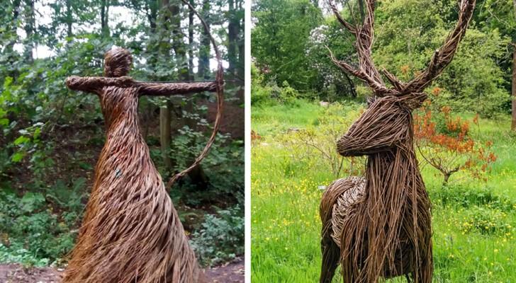 L'artista che crea incredibili sculture a grandezza naturale intrecciando i rami di salice