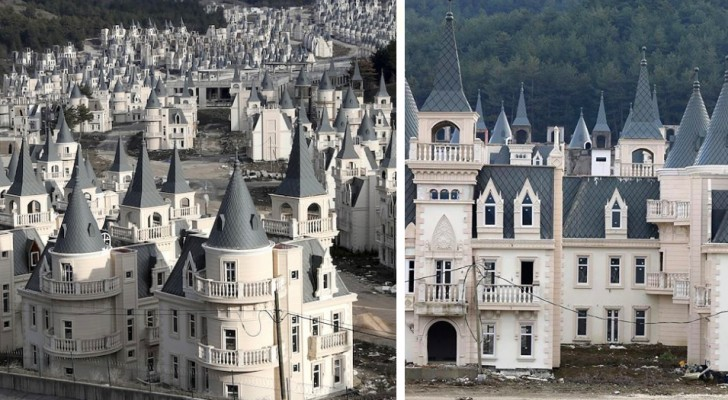 Een stad van verlaten kastelen: het ziet eruit als een pretpark, maar het is een residentieel centrum in Turkije