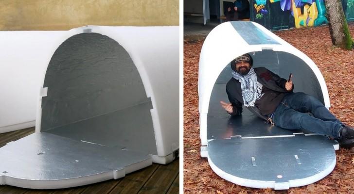 Een jonge ingenieur heeft goedkope schuilplaatsen uitgevonden voor daklozen, recycleerbaar en isolerend