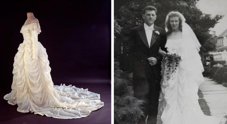 This woman created her own wedding dress using the parachute that had saved her husband's life