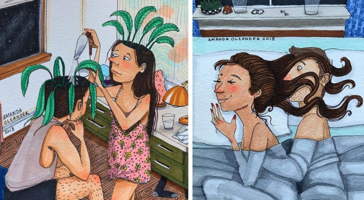 These delightful colored drawings show us that true love is expressed in the small gestures of everyday life