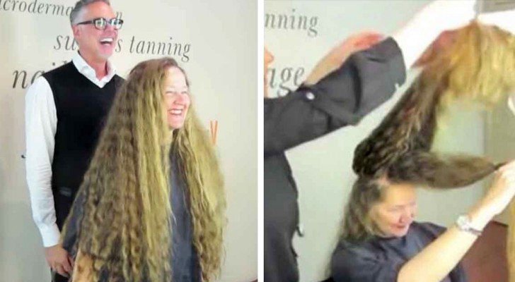 She has worn her hair long for 20 years and decides to cut it and the change in her look is amazing