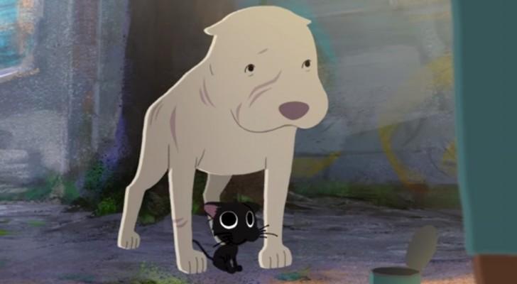 Deze betoverende korte film over de vriendschap tussen een pitbull en een zwarte kat is ontroerend