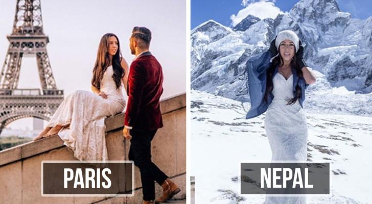 Visitano 33 paesi in 10 mesi in luna di miele: ad ogni tappa la sposa indossa lo stesso vestito del matrimonio