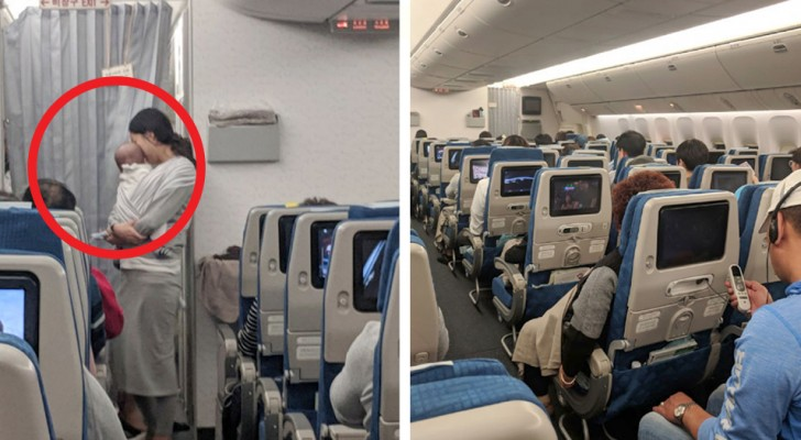 Sie steigt mit ihrem 4 Monate alten Sohn ins Flugzeug und verteilt Ohrstöpsel, um sich im Voraus bei allen Passagieren zu entschuldigen